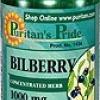 Puritan Bilberry 1000 mg (Extract 250 mg) (USA) ช่วยบำรุงและเพิ่มความชุ่มให้กับดวงตา