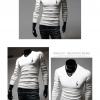men's T-shirts แขนยาวคอวีผู้ชายเสื้อ (สีขาว)