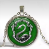 Silver Slytherin crystal necklace