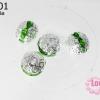 ตัวแต่งสร้อยหินนำโชคบอลเพชร แถวเดียวสีเงิน เพชร สีเขียว 8 มิล (1ชิ้น)