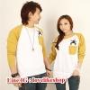 +พร้อมส่ง+ ชุดคู่รัก แฟชั่นคู่รัก ชายเสื้อยืดแขนยาว หญิงเสื้อตัวยาวแขนยาว สีขาว แต่งแขนสีเหลือง