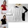 เสื้อแฟชั่น เสื้อทำงาน ผ้าฮานาโกะ สีขาว แต่งระบายเอว แบบสวยเรียบร้อย สินค้าคุณภาพ ราคาไม่แพง