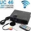 """แถมจอผ้า 84"""" ใหม่!!! โปรเจคเตอร์มี wifi ในตัว. ABLE46+PLUS with WIFI. 1200LumS 1080P HD 800 * 480 Resolution 3D Home Projector ใช้พรีเซนท์งานได้เป็นอย่างดีค่ะ ดูหนัง ดูบอล คาราโอเกะ เจ๋งคอดๆ ขอบอก!!!"""
