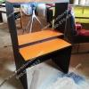 """โต๊ะต่างระดับ 3 ชั้น """"เมลามีน"""" สี : ท๊อปส้ม - ขาดำ"""