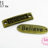 จี้โรเดียม สีทองเหลือง ลายตัวอักษร Believe 10x17 มิล (1ชิ้น)