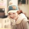 หมวกไหมพรมแฟชั่นเกาหลีพร้อมส่ง ทรงดีไซต์เก๋ หมวกสีครีม ทรงแก็ป ปักลายกวาง มีจุก
