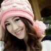 หมวกไหมพรมแฟชั่นเกาหลีพร้อมส่ง ทรงดีไซต์เก๋ แต่งลายสีชมพูสลับขาว มีจุกด้านข้าง
