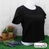เสื้อผ้าแฟชั่น เสื้อทำงาน ผ้าฮานาโกะตัดแต่งแขนเก๋ๆ สีดำ แบบสวยเรียบหรู สินค้าคุณภาพดี ราคาไม่แพง