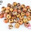ลูกปัดไม้ กลม คละลาย 9มิล (1ขีด/100กรัม)