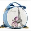 (หมดจ้า) กระเป๋า Axixi ทรงกลม สีฟ้า ภาพพิมพ์หอไอเฟล ซิปเป็นรูปโบว์ด้านบนน่ารักๆ มีสายสะพายสีทอง