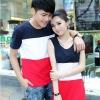 +พร้อมส่ง+ เสื้อคู่รักเกาหลี แฟชั่นคู่รัก ชายเสื้อยืดแขนสั้น + หญิงเดรสแขนกุด ลายแถบกลมขาวแดง