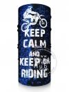ผ้าบัฟ ผ้าโพกหัว TB1071 KEEP CALM and KEEP on Riding Blue