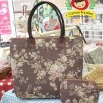 กระเป๋าผ้าญี่ปุ่น แพคคู่ ทรงสะพายไหล่ ขนาด 30 x 40 cm สายหนังแท้ พร้อมกระเป๋าใส่ของจุกจิก (สินค้าฝากขาย ไม่บวกเพิ่ม )
