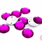 เพชรแต่ง กลม สีม่วงอมชมพู มีรู 12มิล(20ชิ้น)
