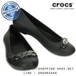 W7 (24 cm.) : Crocs Gianna Link Flat - Black / Silver ของแท้ Outlet ไทยและอเมริกา
