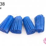 พู่หนังชามุด สีน้ำเงิน 3.5ซม (4ชิ้น)