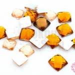 เพชรแต่ง สี่เหลี่ยม สีส้มอ่อน+สีน้ำตาลอมส้ม ไม่มีรู 8-10มิล(10ชิ้น)