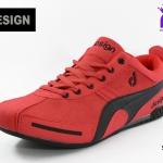 ผ้าใบชาย Design ดีไซน์ รหัส DS9811 สีเเดง เบอร์ 41-45
