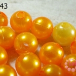 ลูกปัดมุก พลาสติก สีส้ม 14 มิล (1ขีด/100กรัม)