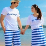 ชุดคู่รัก เสื้อคู่รักเกาหลี เสื้อผ้าแฟชั่น ชายเสื้อ+กางเกง หญิง เสื้อ+เดรส สีโทนฟ้าขาว +พร้อมส่ง+