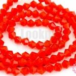 คริสตัลจีน ทรงไบโคน สีแดงขุ่น 4มิล(1เส้น)
