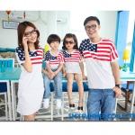 ชุดพ่อแม่ลูก เซตครอบครัว ชายเสื้อยืด + หญิงเดรส + เด็กชายเสื้อยืด สีขาว แต่งลายธงชาติอเมริกา +พร้อมส่ง+