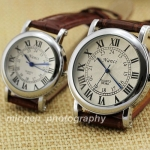 Brown Leather Couple Watches