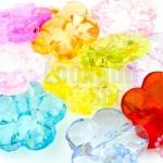 ลูกปัดพลาสติก สีใส ดอกไม้ คละสี 20มิล(1ขีด)