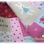 ผ้าฝ้ายผสมลินิน ลายกระต่ายน้อย เลอ ซูเคร (Le Sucre) แบบ Patchwork น่ารักมากค่ะ สีชมพู