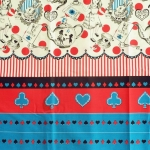 คอตตอนญี่ปุ่น ลาย Alice In Wonderland แนวเทพนิยายโทน ฟ้า - แดง- ขาว ขายที่ 1/2 เมตรเป็นต้นไป เหมาะสำหรับงานผ้าทุกชนิด ตัด กระโปรง ทำกระเป๋า ปลอกหมอน และอื่นๆ