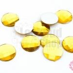 เพชรแต่ง กลม สีเหลืองทอง ไม่มีรู 14มิล(20ชิ้น)