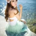 พร้อมส่ง ชุดว่ายน้ำสไตล์เจ้าสาว วันพีซ สายคล้องคอ อกแต่งระบายสวยผูกหลัง พร้อมกระโปรงคลุมนางฟ้า Fairy สวยหรู