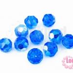 คริสตัลจีน กลมเจียรเหลี่ยม สีน้ำเงินเข้มเหลือบรุ้ง 10มิล(1ชิ้น)