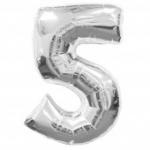 """ลูกโป่งฟอยล์รูปตัวเลข 5 สีเงิน ไซส์เล็ก 14 นิ้ว - Number 5 Shape Foil Balloon Size 14"""" Silver Color"""