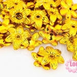 ลูกปัดพลาสติกเคลือบสีทอง ดอกไม้ 15มิล (1ขีด/605ชิ้น)