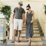 ชุดคู่รัก เสื้อคู่รักเกาหลี เสื้อผ้าแฟชั่น ชายเสื้อยืดคอกลมแขนสั้น + หญิงเดรสกล้ามกระโปรงยาว สีเทา  +พร้อมส่ง+