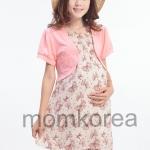 MK283 ชุดคลุมท้อง+เดรสใหนมแฟชั่นเกาหลี 2 in 1 โทนสีชมพูสดใสน่ารัก แต่งด้วยเสื้อตัวนอกสีชมพูอ่อน ด้านข้างมีซิปเปิดให้นมน้อง