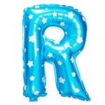 """ลูกโป่งฟอยล์รูปตัวอักษร R สีฟ้าพิมพ์ลายดาว ไซส์เล็ก 14 นิ้ว - R Letter Shape Foil Balloon Size 14"""" Blue color printing Star"""