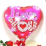 ลูกโป่งฟลอย์รูปหัวใจ พิมพ์ลาย I LOVE YOU ไซส์ 18 นิ้ว - I Love You Heart Shape Foil Balloon / Item No. TL-E001