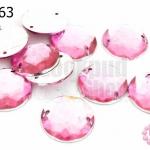 เพชรแต่ง กลม สีชมพูอ่อน มีรู 18มิล(10ชิ้น)