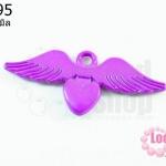 จี้โรเดียม หัวใจมีปีก สีม่วง 25มิล