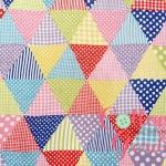 คอตตอนลินิน ญี่ปุ่น ลายสามเหลี่ยม สีสันสดใส ( สามเหลี่ยมขนาด 2 cm) เหมาะสำหรับงานผ้าทุกชนิด ตัด กระโปรง ทำกระเป๋า ปลอกหมอน และอื่นๆ