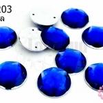 เพชรแต่ง กลม สีน้ำเงิน มีรู 16มิล(10ชิ้น)