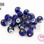 ลูกปัดแก้ว ลูกตา สีน้ำเงิน 10 มิล (1ขีด/98ชิ้น)