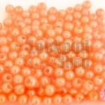 ลูกปัดมุก พลาสติก สีส้มพีช 4มิล (1ขีด/100กรัม)