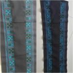 ผ้าปักสำหรับตกแต่งคอเสื้อ หรือชายเสื้อ โทนสีน้ำเงินสดใส
