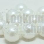 ลูกปัดมุกพลาสติก สีขาวมุก 12มิล 1 ขีด (118ชิ้น)