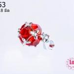 ตัวแต่งโรเดียม จี้ลูกปัด ตกแต่งสร้อยหินนำโชค รูปบอลเพชร สีแดง ขนาด 9x18 มิล