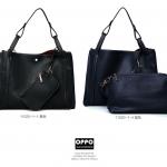 กระเป๋าหนังปั้มลาย เกรดA แบรนด์ OPPO สีดำ ยกชุดได้ 3 ใบ คุณภาพดี(รับประกันของแท้เหมือนแบบ 100%)