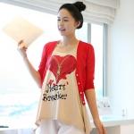 เสื้อยืดคลุมท้องพร้อมเสื้อกั้กสีแดง สกีนลายหัวใจ รหัส SH111
